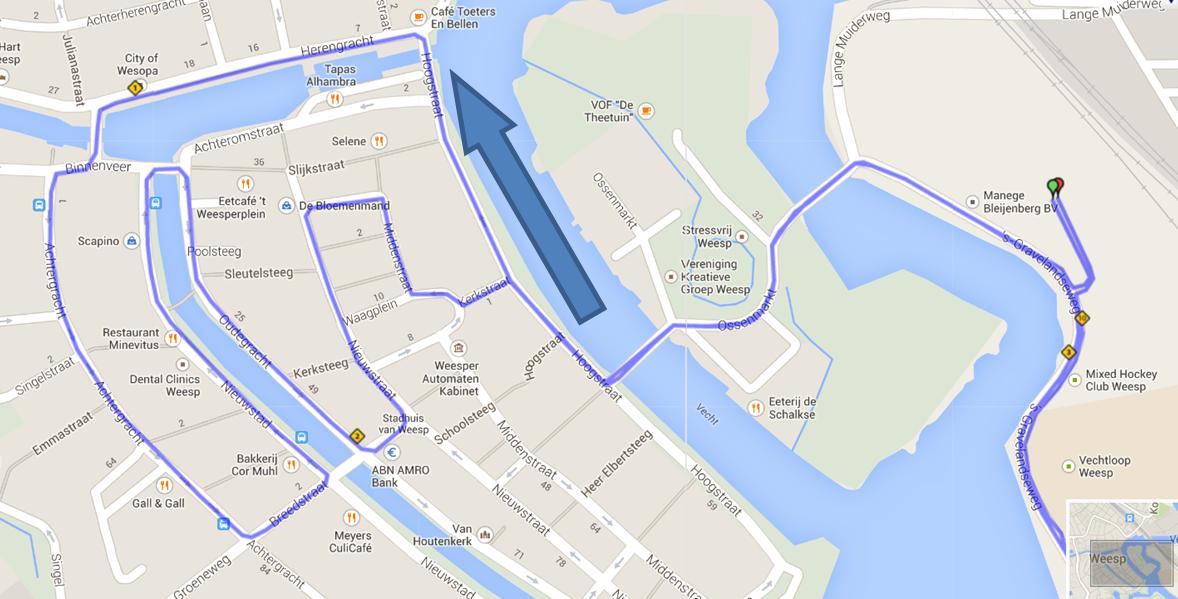 Deel parcours 10/15/21 km door centrum Weesp